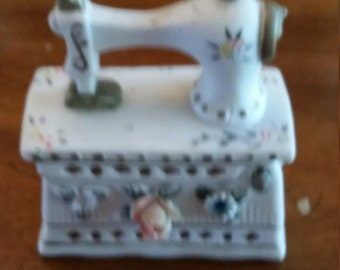 Bisque Hand Painted Sewing Machine Figurine Trinket Box Knick Knack