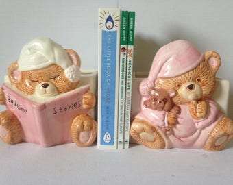 Childrens Bookends, Bookends For Kids, Bookends, Nursery Decor, Kid's Bedroom Decor, Pink Nursery Decor, Teddy Bear, Baby Girl Nursery, Pink