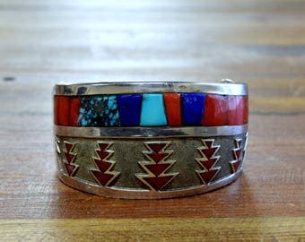 Vintage Navajo Turquoise, Coral, and Lapis Inlay Sterling Silver Cuff Bracelet by Michael Perry