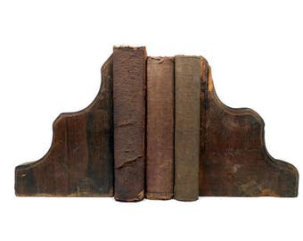 Antique Brackets, Wood Corbels, Architectural Salvage, Weathered Reclaimed Wood, Wooden Bookends