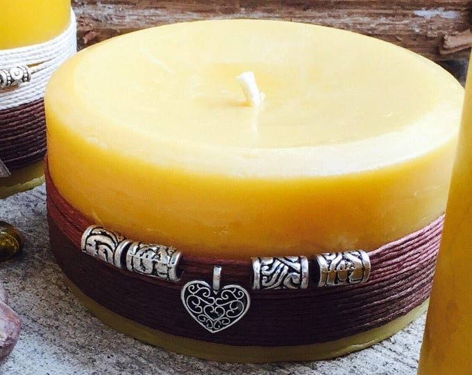 100% Pure beeswax candle wrapped w/natural hemp cord & heart charm