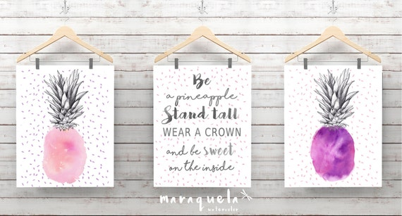PINEAPPLES SET,pink,violet and gray hues.Watercolor,message,motivational quotes,modern decor,nursery decor,be a pineapple,wear crown,girls