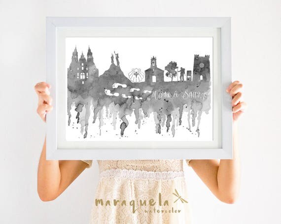 Route of SANTIAGO Compostela Skyline Blue Gray hues,camino de Santiago,Way of St. James,Spain art print, poster gift memory travel,pilgrim