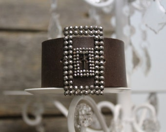 Leather Cuff Bracelet with Double Shoe Buckle