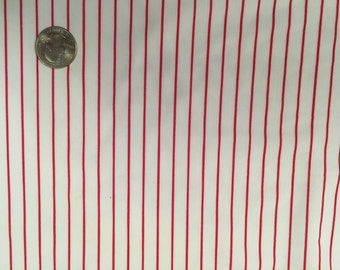 White with Red Pinstripe Stretch Fabric