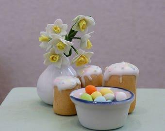 Easter set with daffodils Dollhouse miniature 1:12 Пасхальный набор кукольная миниатюра