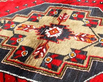 Antique 4'x8'2'' Cr1900-1939s Wool Multi-Colored Nomad Pile Carpet Turkey