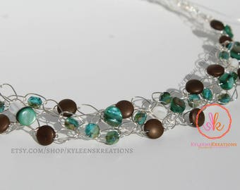 NEW - Crochet Wire Necklace in Teal & Brown