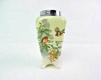Art deco vase, bird design, small chrome edged china posy vase - slight damage