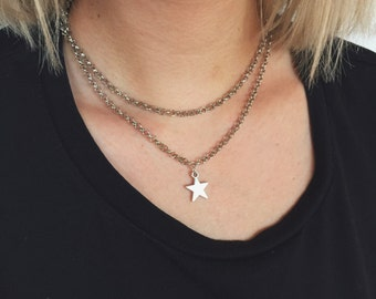 Double Layer Star Necklace / Star Necklace, Star Choker, Silver Star Necklace, Silver Star Choker, Double Layer Necklace, Layered Necklace
