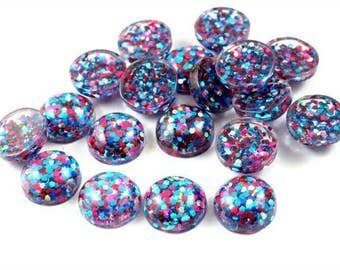 10pcs 12mm Pop Colors Glitter Resin Dome Metallic Cabochons DIY Cabochon Jewelry Supply Jewellery Supplies Mermaid Earrings Cameo Bezel