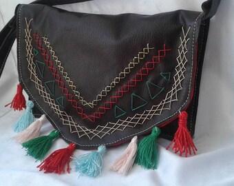 Brown Leather handbag style ethnic Coachella Handmade