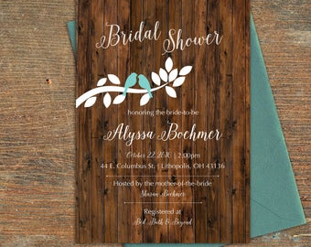 Birds on a Branch Bridal Shower Invitation, Customizable, Printable
