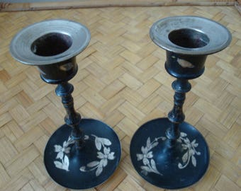 Pair Of IndianBlack Metal Candlesticks With Etched Floral Design