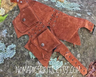 Red Earth (35.5-41.5 inch) coloured suede pixie pockets fesitval belt psy trance