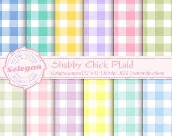 "Plaid Digital Paper "" Shabby Chick Plaid "" digital scrapbook printable paper 12x12 pastel background"