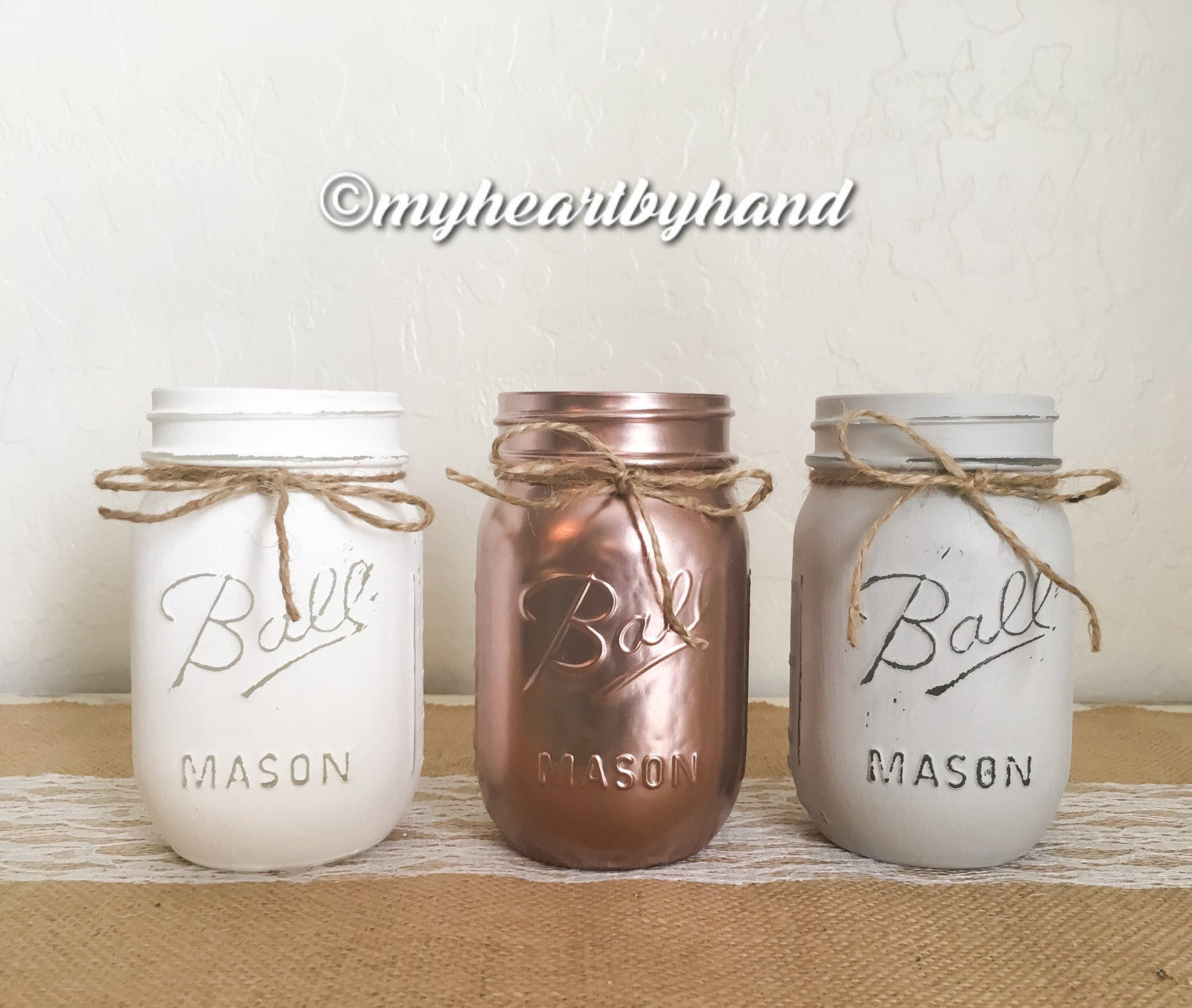 Rose Gold White Light Gray Mason Jar Centerpieces, Rustic Home Decor ...