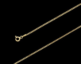 "14K Yellow Gold Cuban Chain Necklace, 1.8mm, 16""-24"", with Spring Clasp"