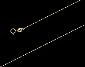 "14K Yellow Gold Ball Chain Necklace 1mm, 18""-24"", with Spring Clasp"