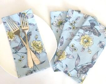 Cloth Napkins - Luncheon Napkins - Set of Four Floral  Print Napkins - Spring Napkins -  Cloth Party Napkins - Bird Print Napkins