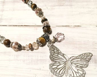 Brown and Pink Butterfly Beaded Necklace