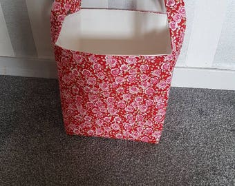 Roses Large Storage Basket/Box. 100% Cotton Designer Fabric. Pink and Red Flowers. Craft Toys Knitting Sewing Laundry Storage