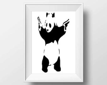 Banksy panda print instant download, Printable art