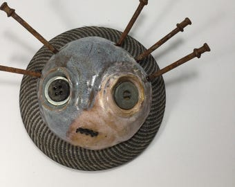 Cecil, ceramic mask and found object sculpture, mask, wall art