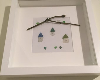 Handmade beach seaglass art picture of sea glass birds and birdhouses. Unique gift. Box frame.