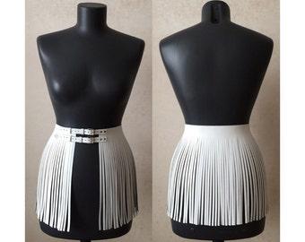Leather fringe skirt short overskirt 40s double belted