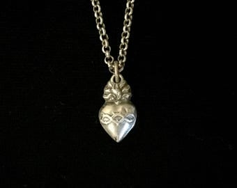 french sacred heart ex voto necklace