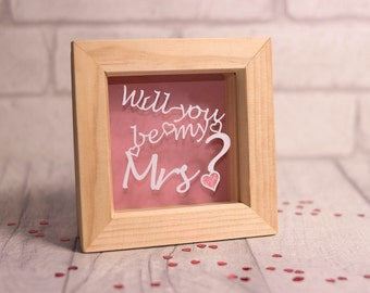 Will you be my Mrs?, wedding proposal, valentines day gift, valentines papercut, framed papercut, gift for her,  engagement papercut