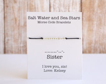Sister bracelet, sister gift, Morse Code bracelet, friendship bracelet, bracelets for women, beaded bracelet, personalized bracelet, morse
