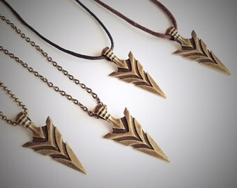 Spear Arrowhead Necklace, Dart Pendant, Surfer Necklace, Native American, Bronze Vintage Tribal Aboriginal Jewellery