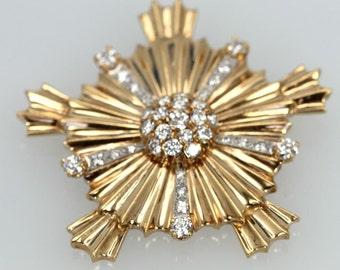 Vintage 14k yellow gold starburst cross pendant/brooch set with 36 diamonds