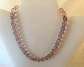 Pale Purple Crystal Beaded Necklace