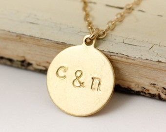 Gold Couples Initial Necklace - His & Hers Jewelry - Bridal Gifts