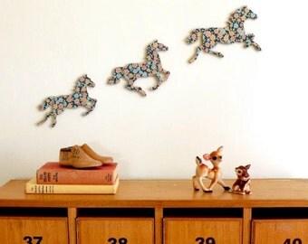 Blue Cottage Garden Galloping Horses - Wall Art - Retro