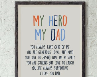 my Hero print for Dad, birthday card for Dad, Father's Day card, Dad printable, Fathers day from kids, gift for Dad, My Hero my Dad, digital