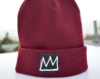 Crown Mens Beanie/ Slouchy Black Beanie/ Winter Ski Hats/ Mens Accessories/ Black Beanies/ Graphic Hats in Four Colours