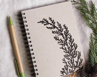Spiralblock / / A6 - Lino-Print mit Floral ornament / / handbedruckt - Linoleum-Block