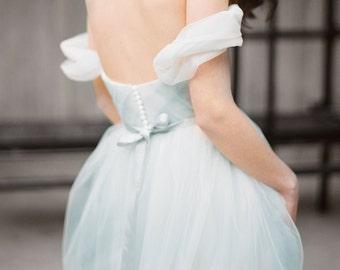 "Blue grey off the shoulder wedding dress ""Arsenia"" - Bohemian bridal gown, Flowy tulle lowback wedding dress, Colored tulle dress, Milamira"