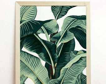 Banana Leaf Print Tropical Poster Palm Tree Art Affiche Nature Beach Leaves Jungle Green Botanical Original Hawaii Cayos Plant Illustration