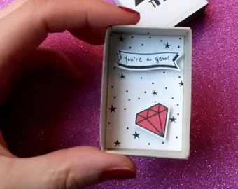 Mothers Day Card / Small Matchbox / You Are A Gem / Red Diamond / Small Paper Diorama / First Anniversary / Love You Pun Card / 3D Art Box