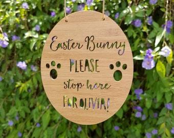 PERSONALISED Easter Bunny Please Stop Here!  Bamboo-Wooden Door-Wall Hanging-Easter-Easter bunny-kids sign-door sign