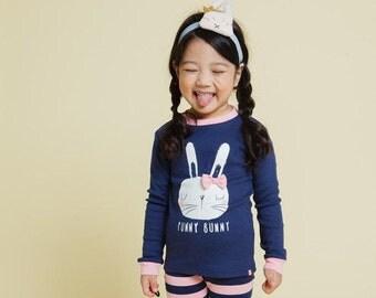 12M-7T 100% Cotton 2pcs Infant Kids Girls Easter Clothes Loungewear Pajama Sleepwear Set Bunny