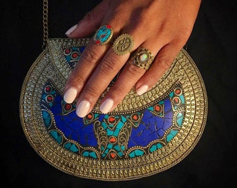Mira - metal bag, ethnic bag, boho clutch, vintage bag, handmade clutch, tribal bag, indian bag, metal clutch, metal stone bag, ornate bag