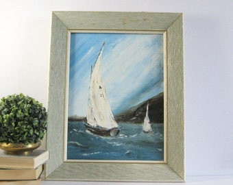 12x16 Sailboat Painting - Vintage Framed Art - Nautical Wall Decor - Seascape Painting -  Blue Home Decor - Mid Century Art - Sailing Gift