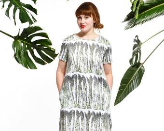 Handmade asparagus shift dress, vegetable print dress