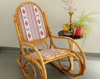 Vintage Bamboo Cane Rocking Chair, New Upholstery, Southwestern Pattern, Franco Albini influence